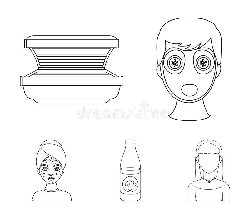 Лицевой щиток гермошлема, солярий, lasenom ts бутылки, цыпки на стороне Значки собрания заботы кожи установленные в плане вводят  иллюстрация вектора