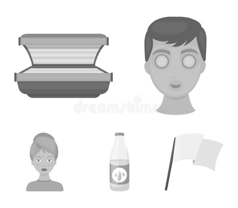 Лицевой щиток гермошлема, солярий, lasenom ts бутылки, цыпки на стороне Значки собрания заботы кожи установленные в monochrome ве бесплатная иллюстрация