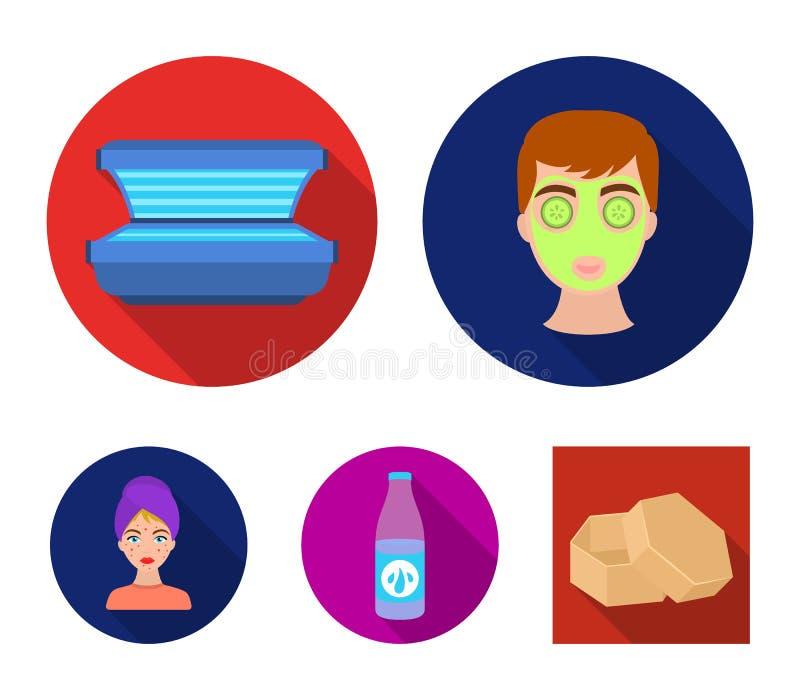 Лицевой щиток гермошлема, солярий, lasenom ts бутылки, цыпки на стороне Значки собрания заботы кожи установленные в плоском стиле бесплатная иллюстрация