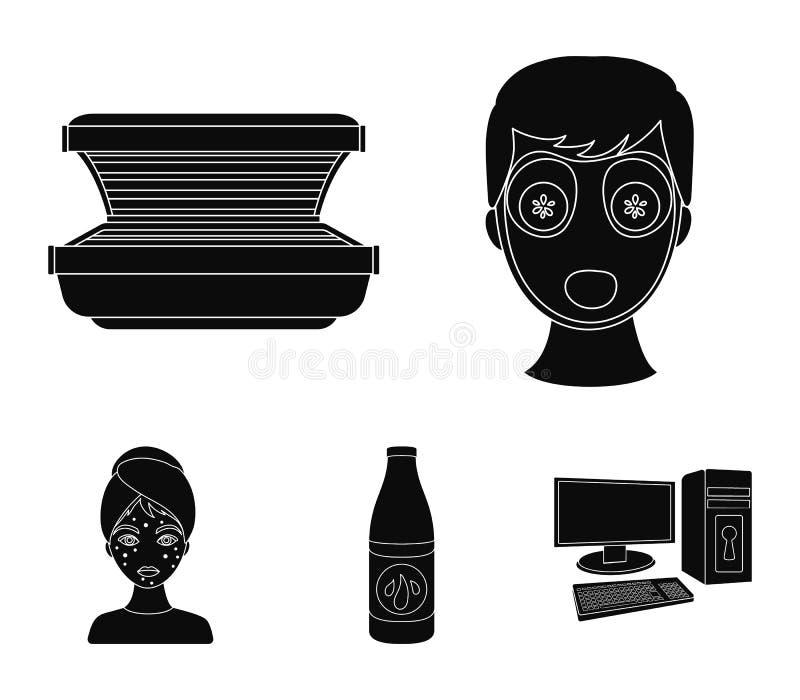 Лицевой щиток гермошлема, солярий, lasenom ts бутылки, цыпки на стороне Значки собрания заботы кожи установленные в черном стиле  иллюстрация вектора