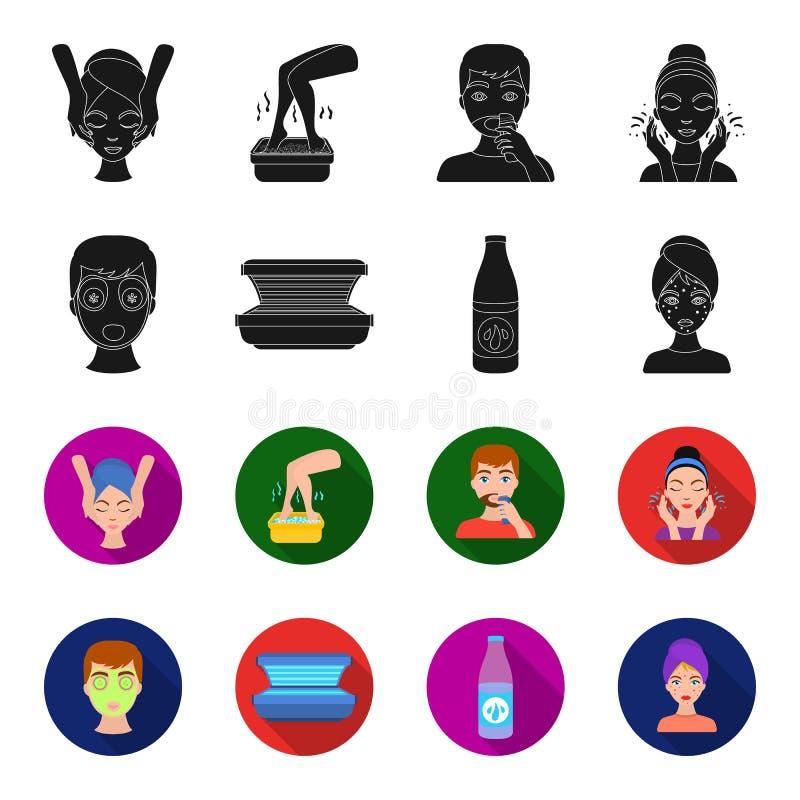 Лицевой щиток гермошлема, солярий, lasenom ts бутылки, цыпки на стороне Значки собрания заботы кожи установленные в черноте, вект бесплатная иллюстрация