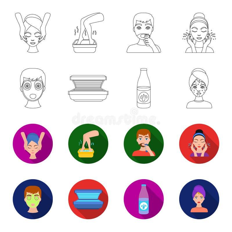 Лицевой щиток гермошлема, солярий, lasenom ts бутылки, цыпки на стороне Значки собрания заботы кожи установленные в плане, вектор иллюстрация вектора