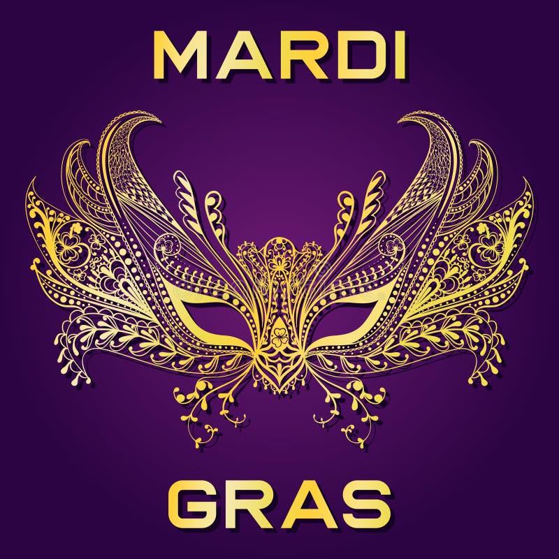 Лицевой щиток гермошлема масленицы золотой для приглашения марди Гра, приветствуя ca бесплатная иллюстрация