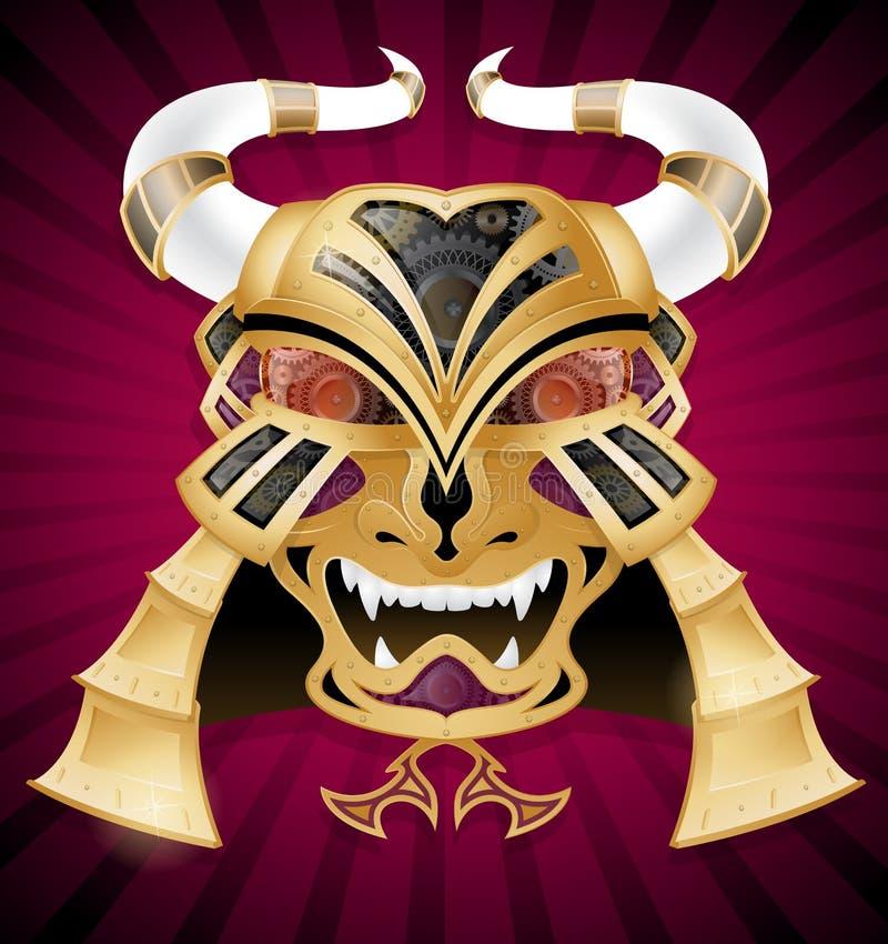 Лицевой щиток гермошлема ратника самураев иллюстрация вектора