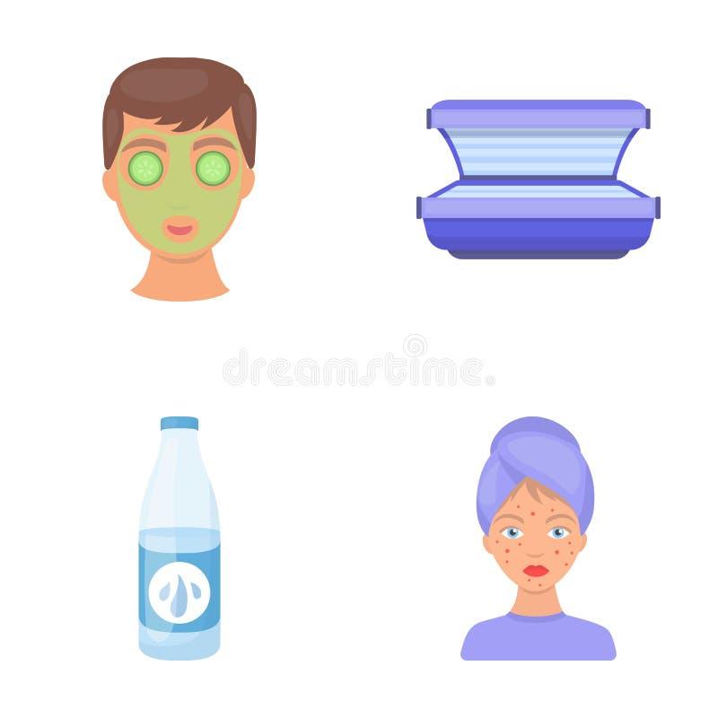 Лицевой щиток гермошлема, солярий, lasenom ts бутылки, цыпки на стороне Значки собрания заботы кожи установленные в шарже вводят  иллюстрация штока