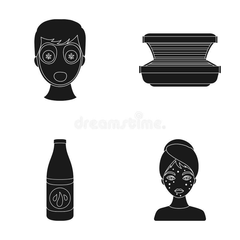 Лицевой щиток гермошлема, солярий, lasenom ts бутылки, цыпки на стороне Значки собрания заботы кожи установленные в черном стиле  иллюстрация штока