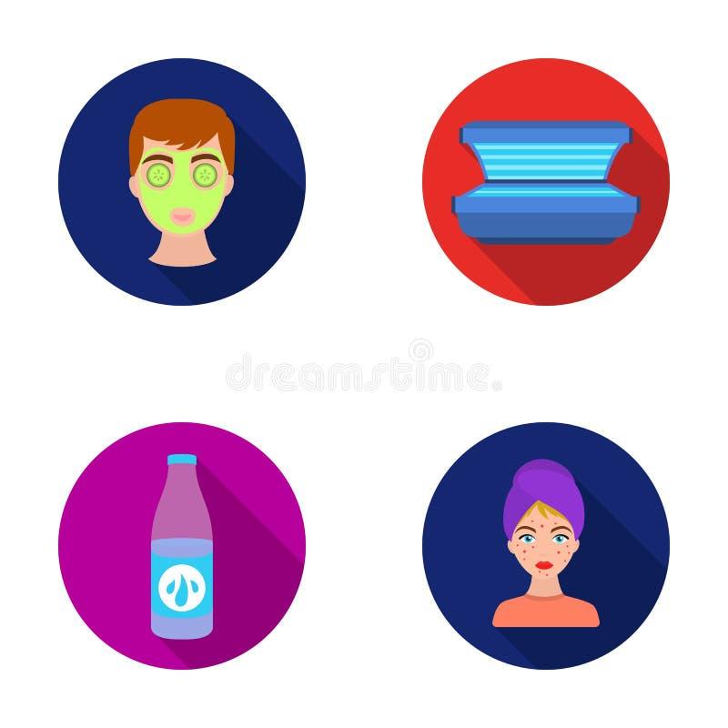 Лицевой щиток гермошлема, солярий, lasenom ts бутылки, цыпки на стороне Значки собрания заботы кожи установленные в плоском стиле иллюстрация вектора