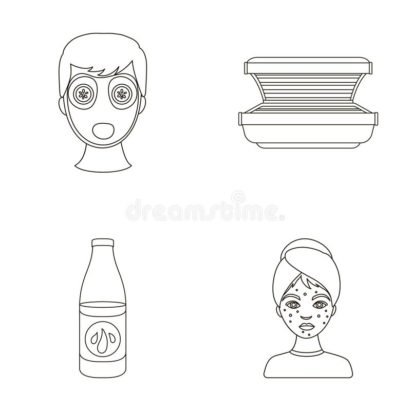 Лицевой щиток гермошлема, солярий, lasenom ts бутылки, цыпки на стороне Значки собрания заботы кожи установленные в плане вводят  бесплатная иллюстрация
