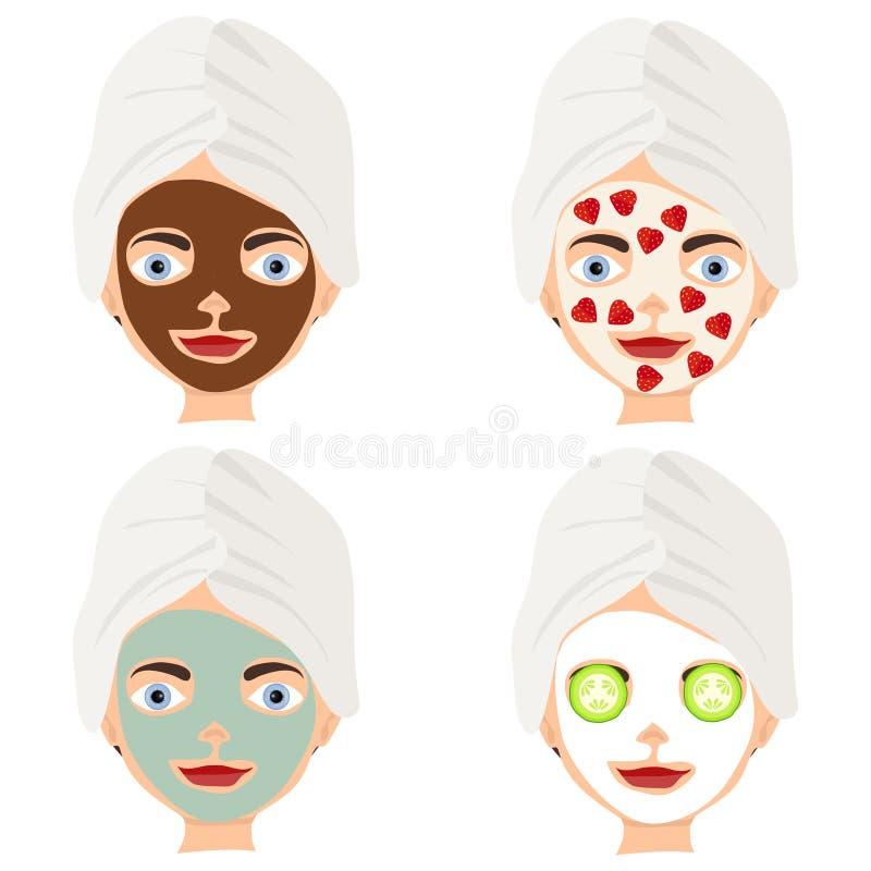Лицевой щиток гермошлема ` s женщин Косметики для стороны иллюстрация штока