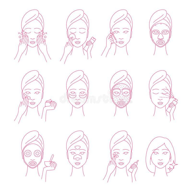 Лицевые процедуры по заботы подписывают тонкую линию набор значка r иллюстрация штока