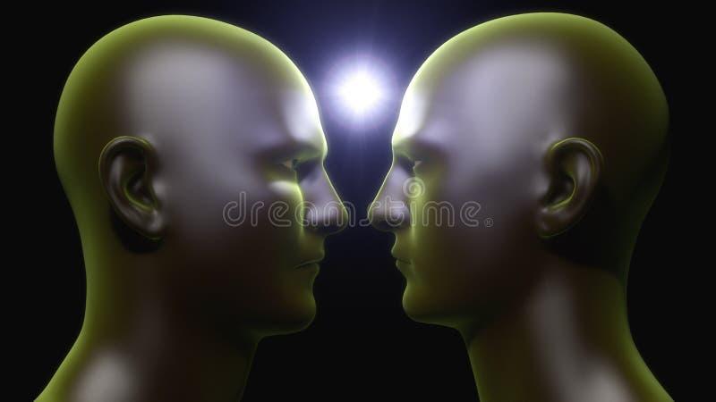 Лицом к лицу гуманоид иллюстрация вектора