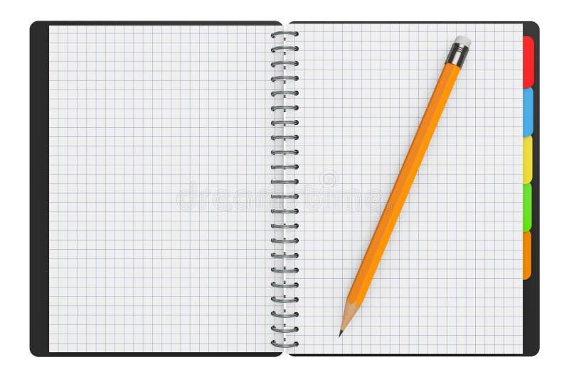 Личная книга дневника или организатора с пустыми страницами и карандашем 3d иллюстрация штока