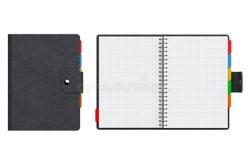 Личная книга дневника или организатора с пустыми страницами перевод 3d стоковые изображения rf