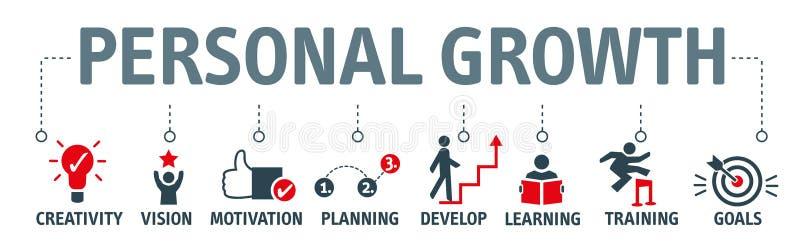 Личная концепция иллюстрации вектора роста и развития бесплатная иллюстрация