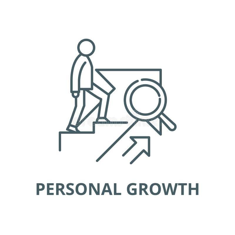 Личная линия значок вектора роста, линейная концепция, знак плана, символ иллюстрация штока