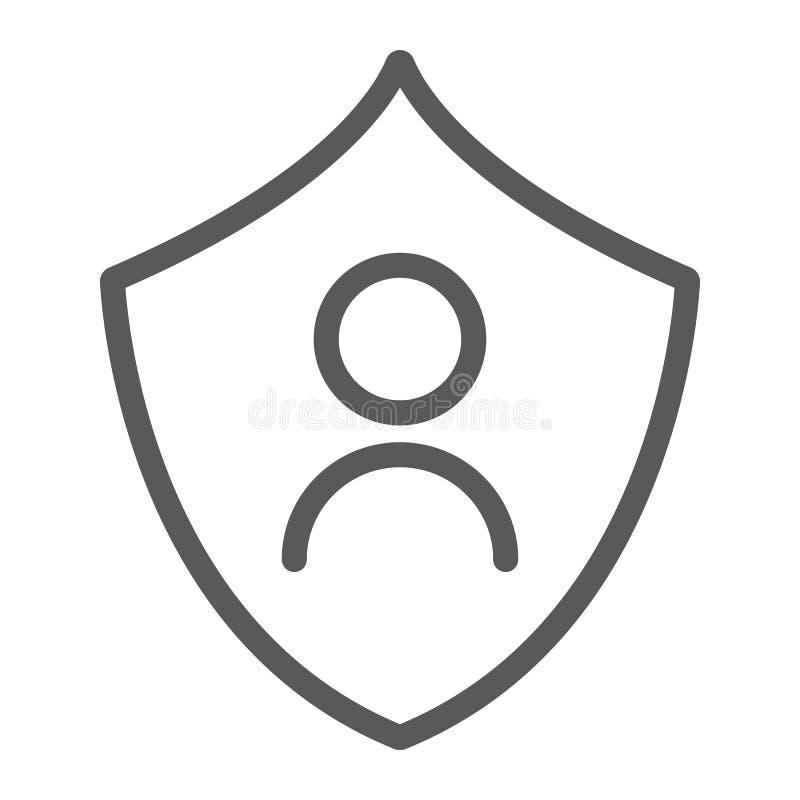 Личная линия значок защиты, уединение и безопасность, знак защиты данн иллюстрация вектора