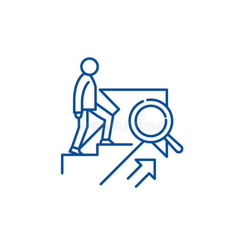 Личная линия концепция роста значка Символ вектора личного роста плоский, знак, иллюстрация плана бесплатная иллюстрация