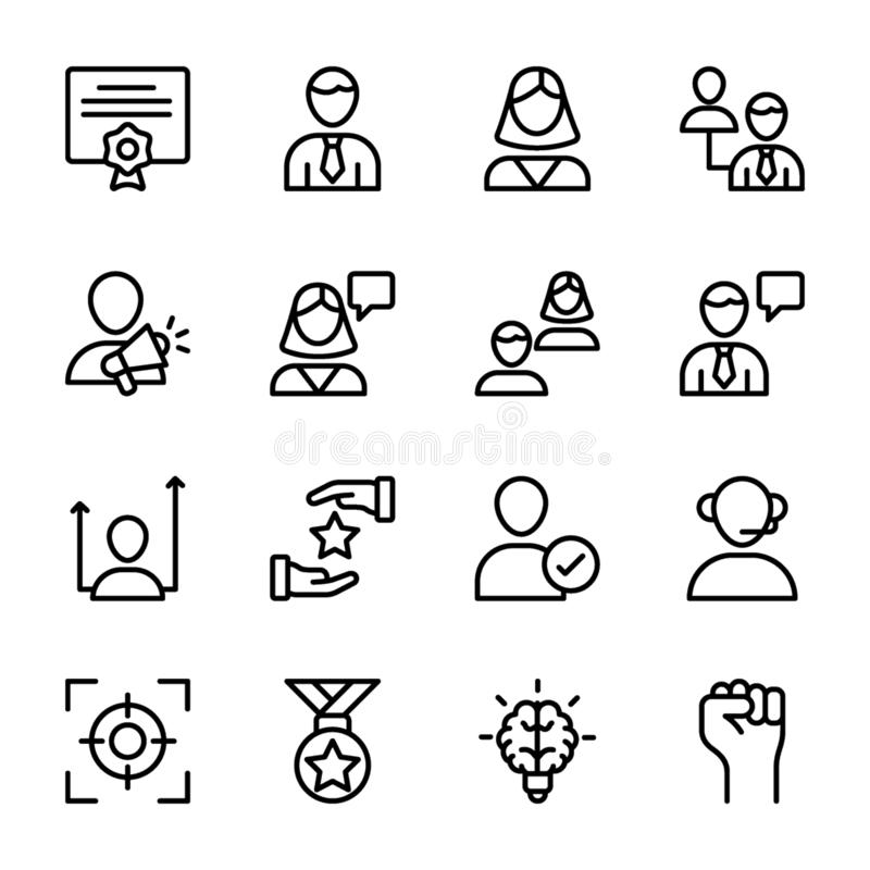 Личное качество, линия значки управления работника пакует иллюстрация вектора