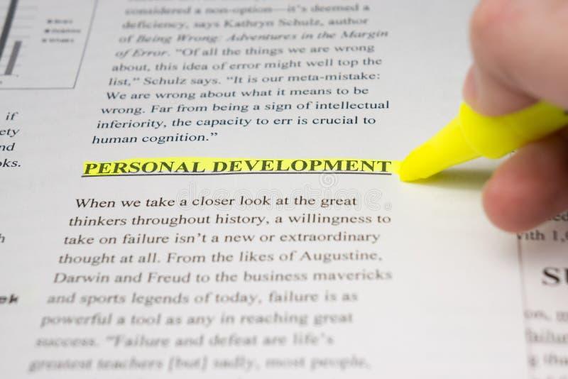 Личное развитие выделенное в тексте дела стоковые фото
