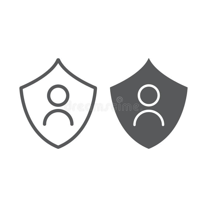 Личные линия защиты и значок глифа, уединение и безопасность, знак защиты данных, векторные графики, линейная картина иллюстрация вектора