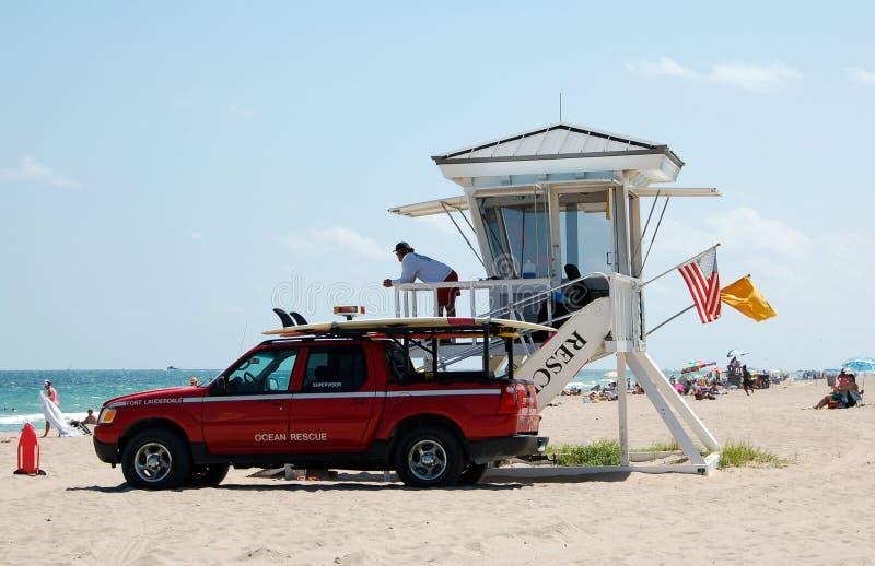 личные охраны Форт Лаудердале пляжа стоковая фотография