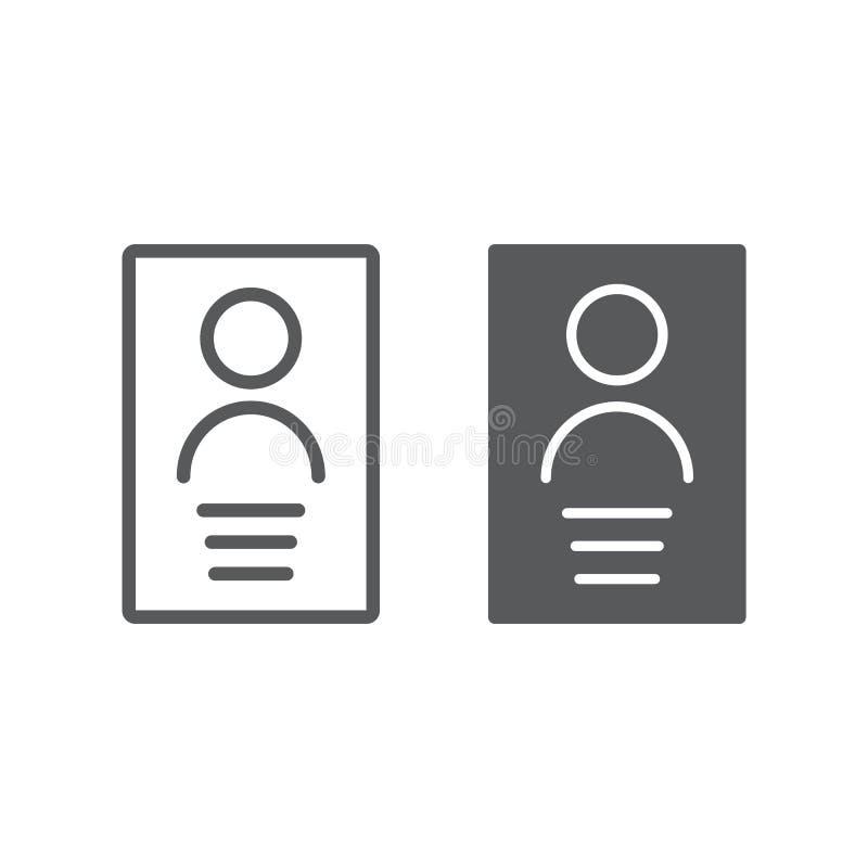 Личные телевизионная строка с данными телетекста и значок глифа, файл и информация, знак документа, векторные графики, линейная к бесплатная иллюстрация