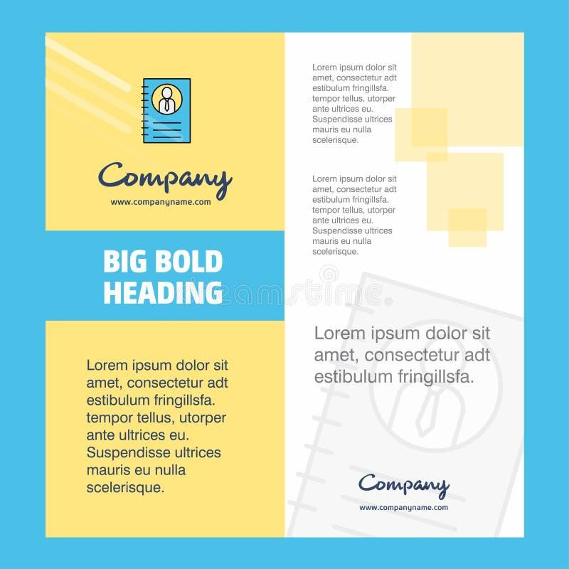 Личный дизайн титульного листа брошюры компании дневника Направление компании, годовой отчет, представления, предпосылка вектора  иллюстрация вектора
