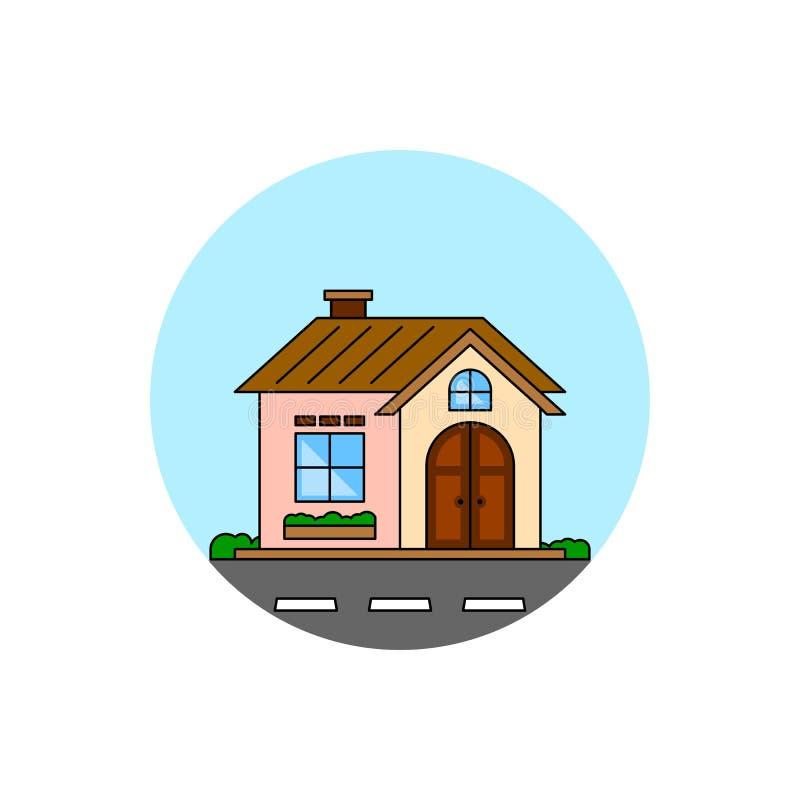 Личный значок городского пейзажа жилищного строительства иллюстрация вектора