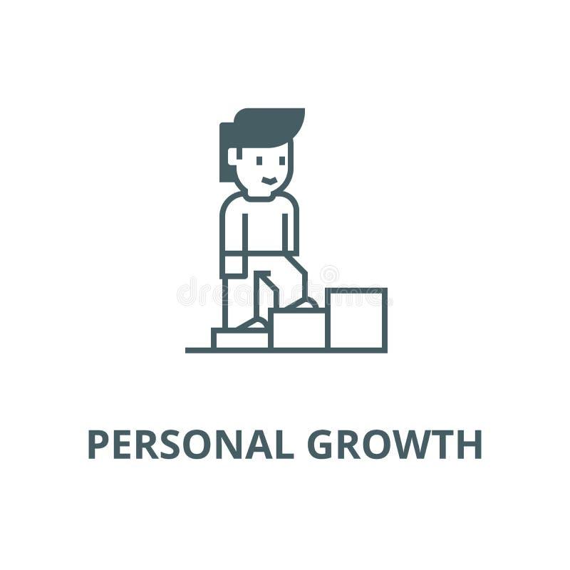 Личный рост, лестницы человека вверх по линии значку вектора, линейной концепции, знаку плана, символу бесплатная иллюстрация