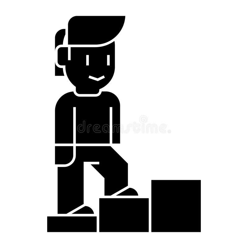 Личный рост - укомплектуйте личным составом лестницы вверх по значку, иллюстрации вектора, черному знаку на изолированной предпос иллюстрация штока
