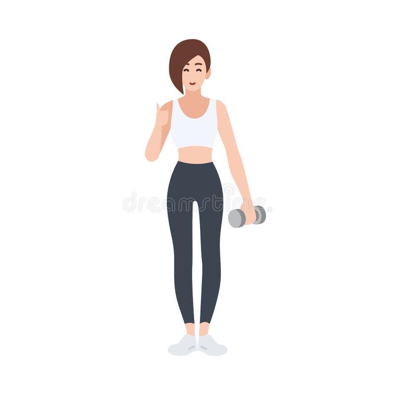 Личный тренер фитнеса или спорт или работник спортзала держа гантель и демонстрируя большие пальцы руки вверх показывать Женский  иллюстрация штока