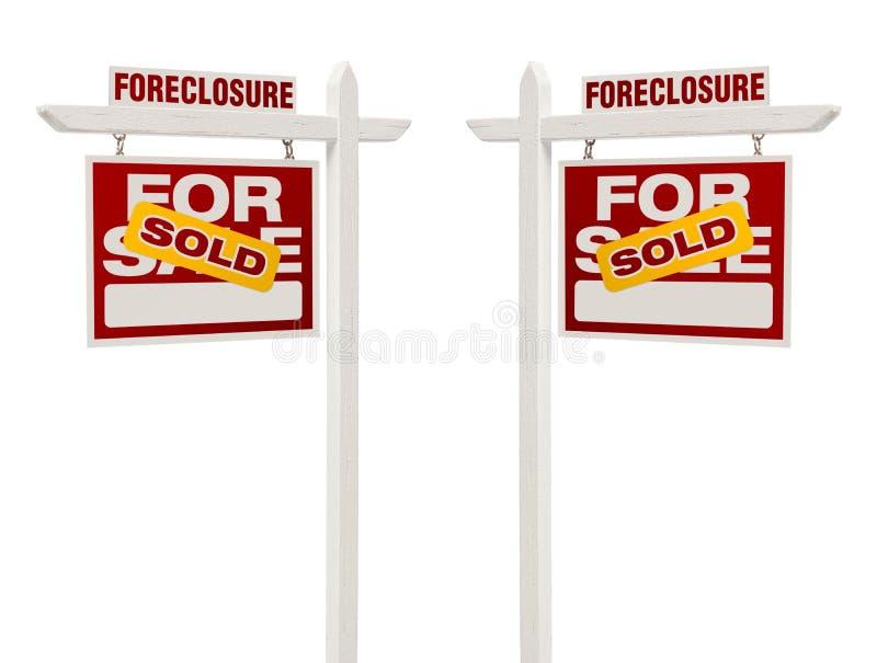 Лишение права выкупа 2 продало для продажи знаки недвижимости, путь клиппирования стоковые фотографии rf