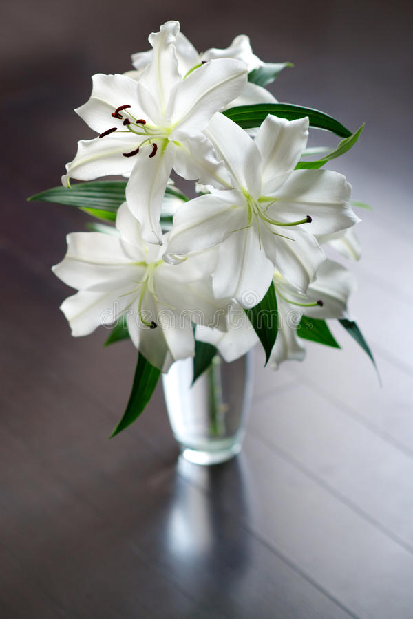 Лилии в вазе стоковое изображение rf