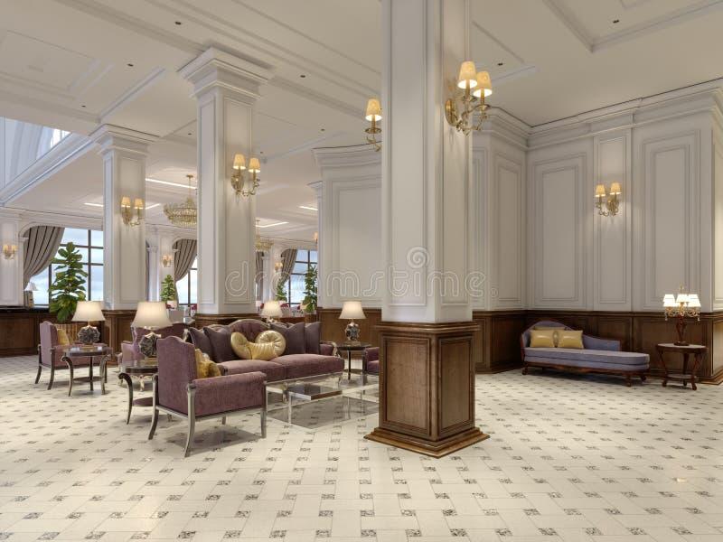 Лобби гостиницы в классическом стиле с роскошной залой мебели стиля Арт Деко и плитки мозаики бесплатная иллюстрация