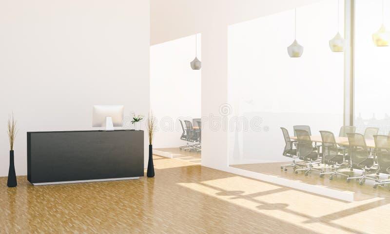 лобби офиса с приемной и конференц-залами иллюстрация вектора