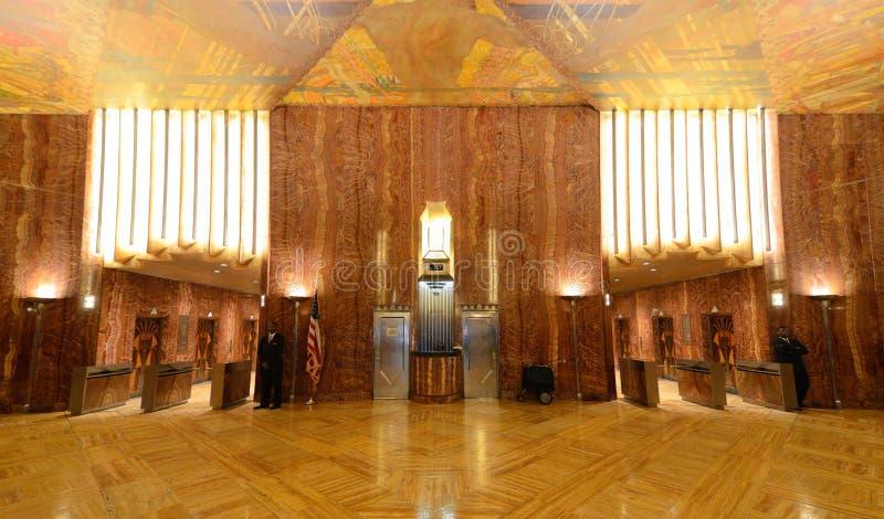 лобби chrysler здания стоковая фотография rf