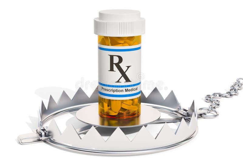 Ловушка с пилюльками медицинской бутылки полными Концепция наркомании, 3D иллюстрация вектора