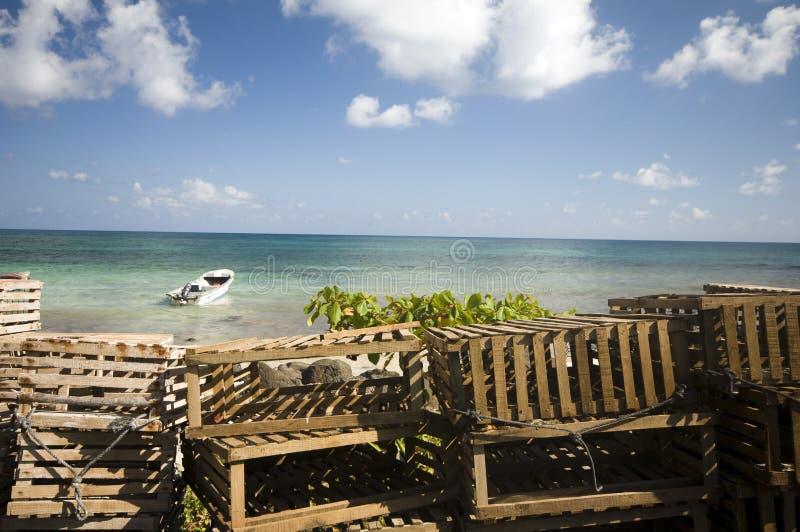 ловушки Никарагуаа омара пляжа стоковое изображение