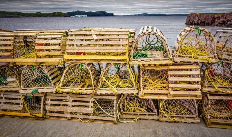 Ловушки омара, прибрежный Ньюфаундленд, Канада стоковое изображение