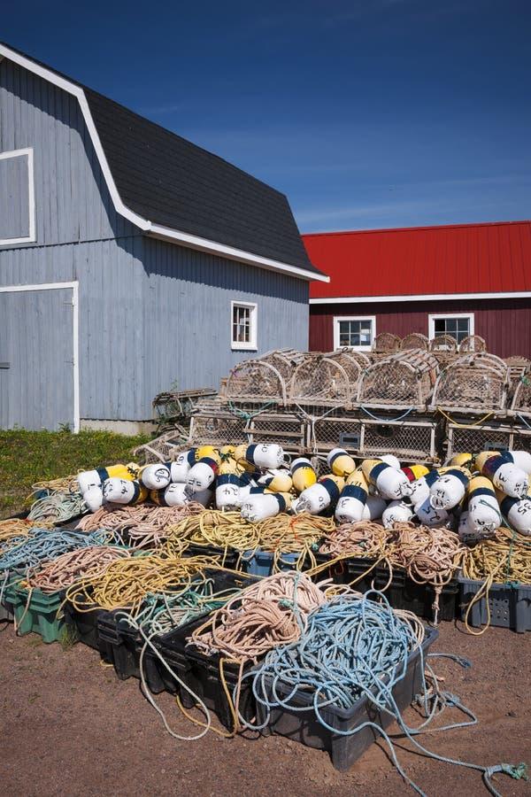 Ловушки, поплавки и веревочка омара стоковое изображение rf