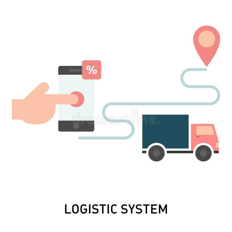 Логистическая система или мобильное приложение для доставки товаров иллюстрация вектора