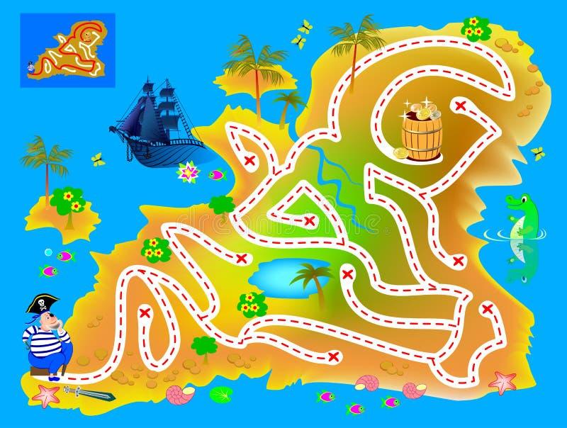 логическая головоломка игра с лабиринтом для детей и взрослых Помогите пиратам найти путь на острове сокровищ до захоронения золо бесплатная иллюстрация