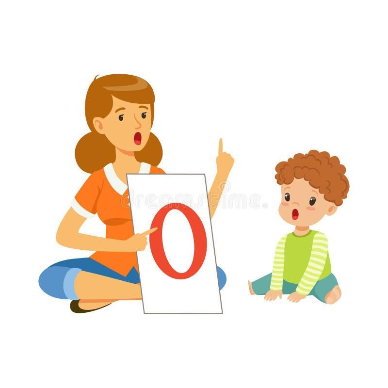 Логопед делая суставн гимнастическое с мальчиком малыша в детском саде Развитие и образовательный центр ребенка бесплатная иллюстрация