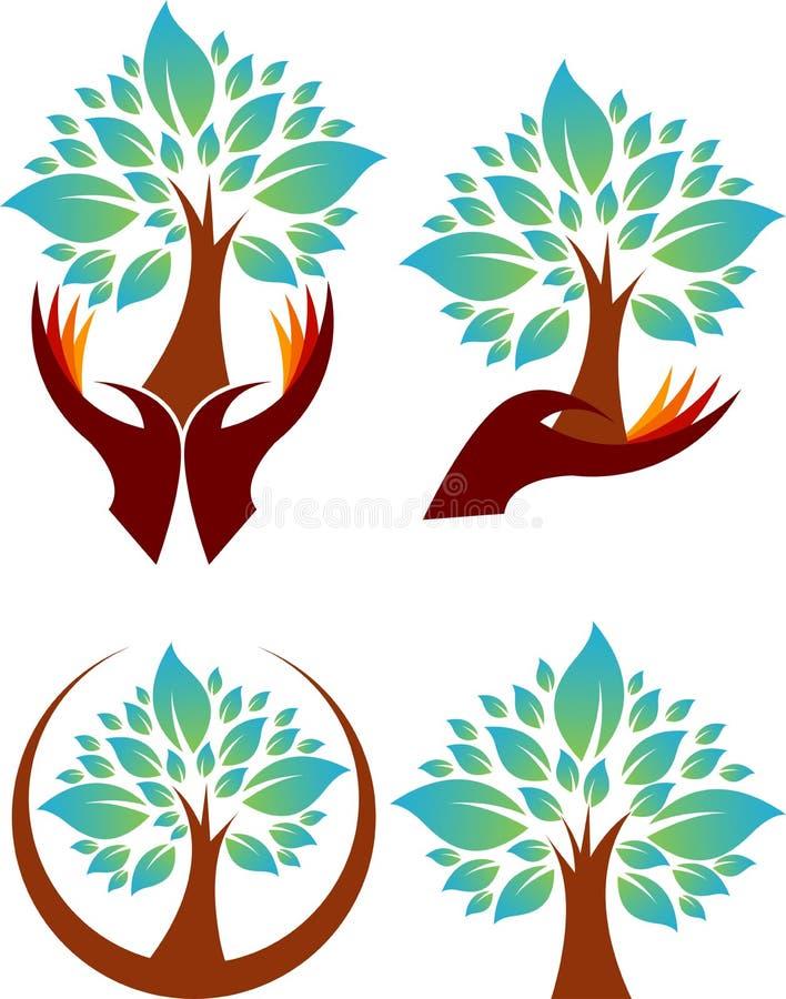 Логосы дерева руки собрания иллюстрация вектора