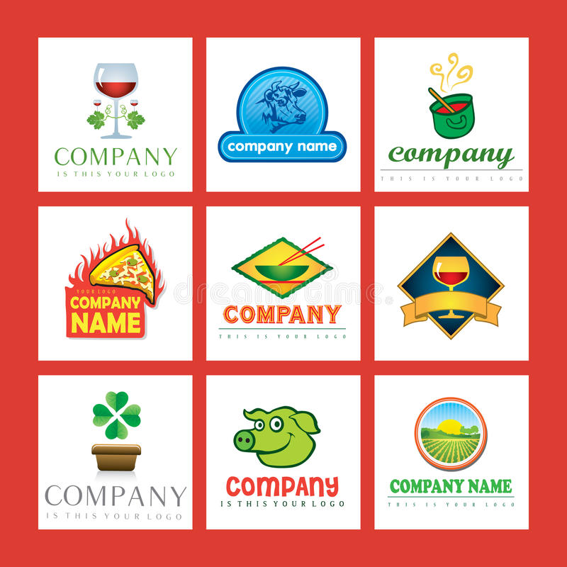 логосы еды компании иллюстрация вектора