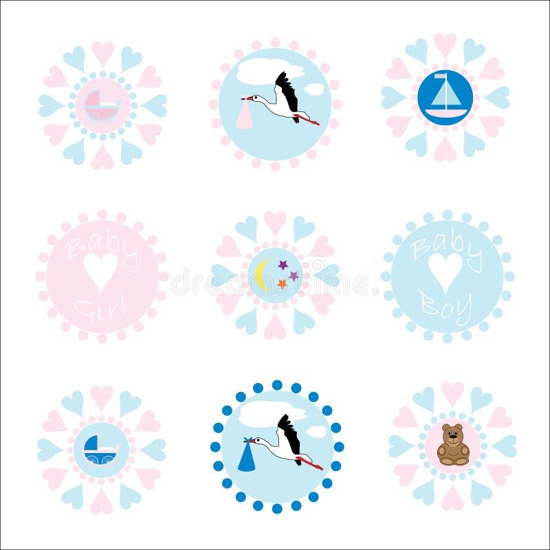логосы икон младенца иллюстрация вектора