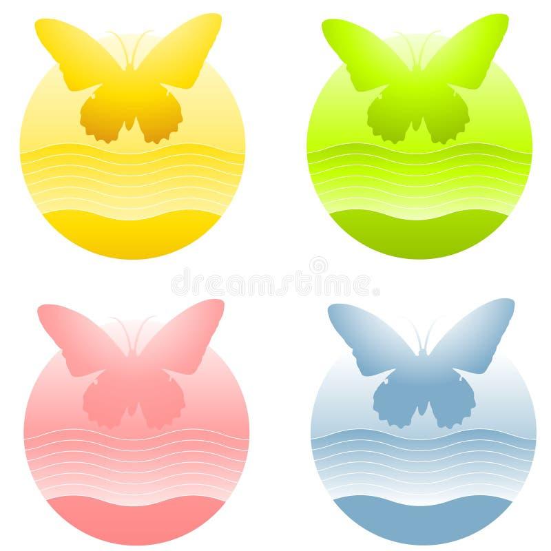 логосы круга бабочки иллюстрация штока