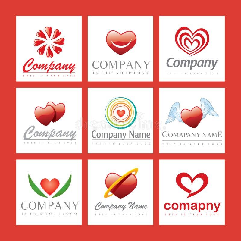 логосы сердца компании красные иллюстрация вектора