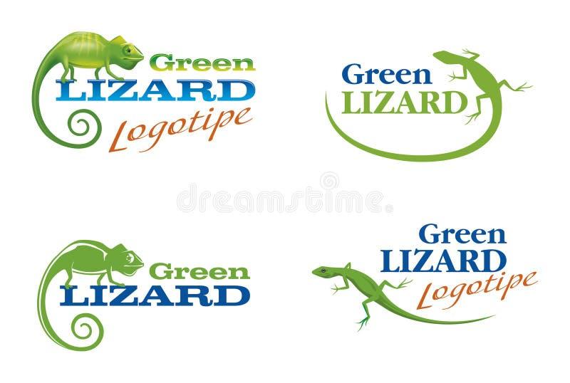 логосы ящерицы хамелеона иллюстрация штока