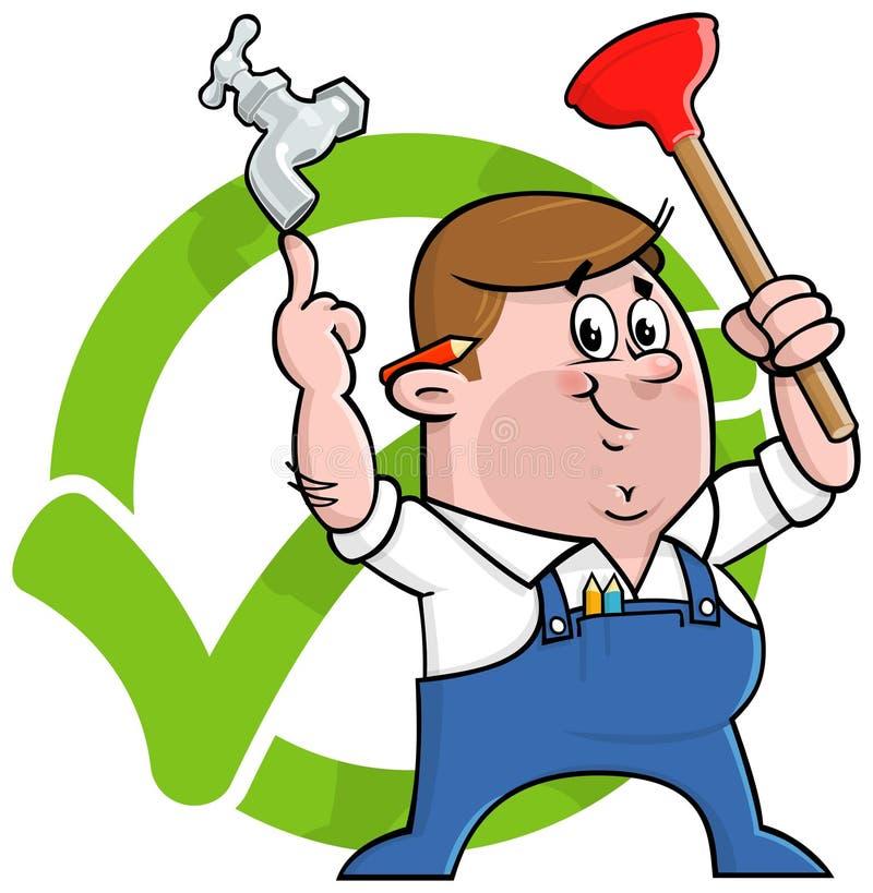Логос водопроводчика шаржа бесплатная иллюстрация